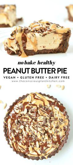 HEALTHY PEANUT BUTTER PIE #veganpie #peanutbutterpie #pie #peanutbutter #vegandesserts #nobake #desserts #veganglutenfree #nobake #healthy #easy Gluten Free Peanut Butter, Peanut Butter Desserts, Healthy Peanut Butter, Vegan Gluten Free, Paleo, Vegan Butter, Low Gi Desserts, Vegan Dessert Recipes, Gluten Free Desserts