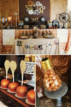 A Steampunk Birthday Party with metallic painted gun & hot air balloon, gear embellishments, vintage style props, DIY pipe lamp, top hats & custom laser cut backdrop