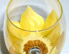 Hand Painted Sunflower Wine Glasses