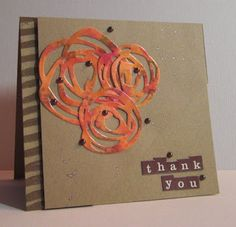 handmade card from GG Creations: Thankful ... kraft base ... luv how she die cut the lacy flowers from hand colored paper using alcohol inks ...