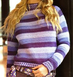materiales:   150 gramos de lana acrílica finita en hilo doble en color violeta, 130 gramos en color lila y 120 gramos en color lila cl...