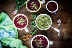 A simple recipe for beetroot and kale soup, with an almond and kale crumble