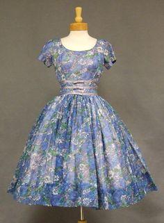 Floral Chiffon 1960s Cocktail Dress w/ Satin Bands