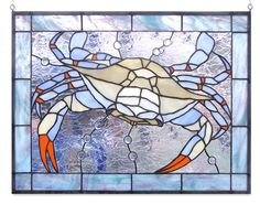 Blue Crab Stained Glass Window by lizardkey on Etsy