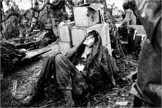 A May 1969 photo showed a wounded United States paratrooper waiting for medical evacuation at base camp in the A Shau Valley near the Laos border in South Vietnam during the Vietnam War 650 × 431