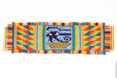 """Купить Браслет из бисера """"Глаз Гора"""" - комбинированный, разноцветный браслет, разноцветное украшение, египетский стиль"""