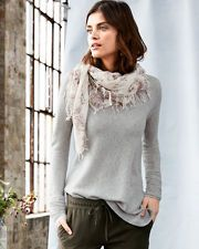Cashmere Horizontal-Rib Side-Slit Sweater