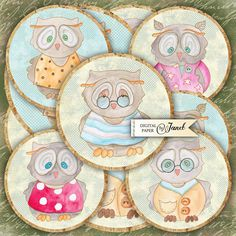 Mr Owl  2.5 inch circles  set of 12  digital by bydigitalpaper