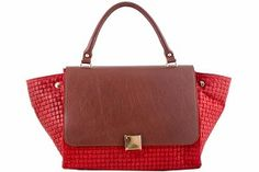 5% OFF EXTRA ON ANY HANDBAG!!  One Coupon Per Customer - Exclude Floto Handbags.  Etasico Rosealita Italian Leather Trapeze Woven Handbag Color Red Cognac #http://www.pinterest.com/BagMadness1/