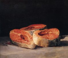 """afgans:  """"Still Life with Slices of Salmon"""" by Francisco de Goya - 1812   Oil on canvas"""