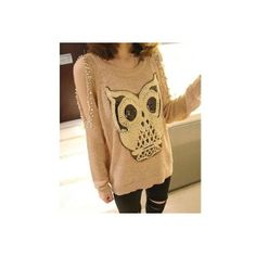 Paillette Owl Off-Shoulder Sweater One Size found on Polyvore