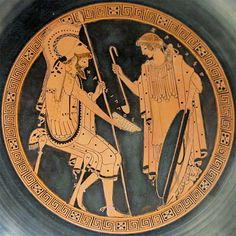 Zeuxo pours wine to Chrysippos. Interior from an Attic red-figured kylix, ca. 490-480 BC. From Capua. Brygos Painter. British Museum