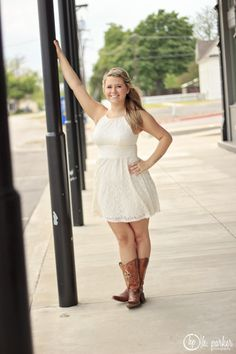 Senior pictures--girl in white dress/cowboy boots is so cute.