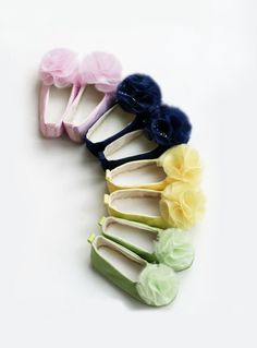 Pastel Satin Toddler Shoe - Easter Couture Ballet Slipper - Flower Girl Ballet Flat - Satin and Tulle - 12 colors - Baby Souls Baby Shoes. $34.00, via Etsy.
