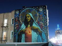 """Ave Maria"" El Mac, background and halo Retna Salt Lake City, Utah 2009 Street Mural, Street Art Graffiti, Street Art Utopia, Urbane Kunst, Photo D Art, Amazing Street Art, Chicano Art, Arte Popular, Art Mural"