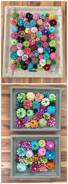 These pinecone flowers in a frame are so pretty! Perfect craft for summer or spring. Makes a beautiful wall art piece. These pinecone flowers in a frame are so pretty! Perfect craft for summer or spring. Makes a beautiful wall art piece. Kids Crafts, Summer Crafts, Fall Crafts, Arts And Crafts, Pine Cone Crafts For Kids, Crafts For Sale, Pinecone Christmas Crafts, Primitive Christmas, Kids Diy