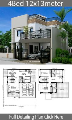 Home design with 4 Bedrooms Home Ideas is part of Modern house plans - Home design with 4 Bedrooms House descriptionOne Car Parking and gardenGround Level Living room, One Bedroom, Dining room, Two Story House Design, 2 Storey House Design, Simple House Design, Bungalow House Design, House Front Design, Minimalist House Design, Modern House Design, Duplex Design, Model House Plan