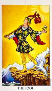 The Fool (0) - Upright: Beginnings, innocence, spontaneity, a free spirit.  Reversed: Naivety, foolishness, recklessness, risk-taking.
