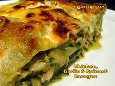 Chicken, Garlic & Spinach Lasagna - Lovefoodies dinner, food recipes, garlic spinach, spinach pasta chicken, lasagna food, chicken lasagne recipes, spinach lasagna, chicken garlic, chicken spinach