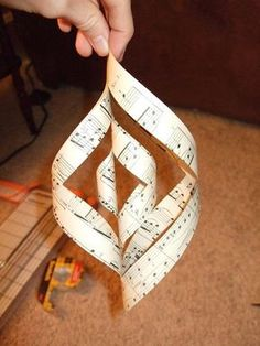 DIY Paper Music Spiral Ornament or Hanging Window Decoration Music Christmas Ornaments, Paper Ornaments, Christmas Paper, Handmade Christmas, Musical Christmas Decorations, Christmas Tree, Sheet Music Crafts, Sheet Music Art, Music Paper