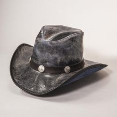 The Limited Edition Faultline leather cowboy hat is as classically western as it gets. They are high-quality, top-grain cowhide, and finished so they show the texture and subtleties of the cowhide while maintaining visible pull-up, which means that the hats get more characterized as you handle them. Complemented by a matching buffalo nickel band, these hats are great additions to any cowboys' or cowgirls' wardrobe.  #cowboyhats #hats #cowgirlhats Leather Cowboy Hats, Cowgirl Hats, Western Hats, Hat Hooks, Hat Making, Cowgirls, Cowboys, Buffalo, Leather Bag