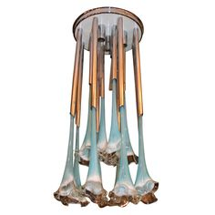 Turquoise Glass & Chrome Light Fixture | From a unique collection of antique and modern chandeliers and pendants  at https://www.1stdibs.com/furniture/lighting/chandeliers-pendant-lights/