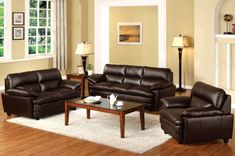 Furniture & Design :: Living room furniture :: Sofas and Sets :: Leather Sofa sets :: 3 Pc. Winston I Contemporary Style Design Dark Brown Finish Bonded Leather Match Sofa Set 3 Piece Living Room Set, Leather Living Room Set, Cheap Living Room Sets, Brown Couch Living Room, Leather Living Room Furniture, My Living Room, Living Area, Sofa Furniture, Small Living