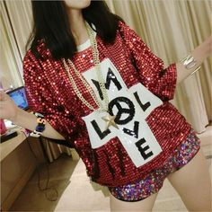 High Quality 2016 Summer style women Letter sequined Women Fashion Nightclub Hiphop Tops t shirt sport tees High Street 4 Colors