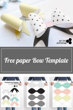 DIY Printable Paper Bow with Template Today I have another printable for you guys. I'm on a roll with the printables (YAY!), but there is a small DIY connected to the one that I am sharing today. Templates Printable Free, Printable Paper, Printables, Paper Folding Art, Bow Template, Bow Pattern, Diy Papier, Felt Bows, Art Activities For Kids