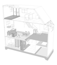 house in itami by tato architects sits on a narrow cul-de-sac, with architectural elements such as stairs, a laundry space, and toilets look like furniture. Architectural Section, Architectural Elements, Japanese Architecture, Architecture Details, Famous Architecture, Narrow House, Tadao Ando, 3d Models, Architect House