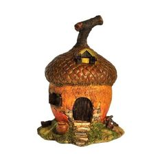 Top Collection Enchanted Story Garden and Terrarium Acorn Fairy House... ($22) ❤ liked on Polyvore featuring home, outdoors, outdoor decor, garden decor, patio decor, outdoor patio decor, garden bird houses and garden patio decor
