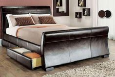 Faux Leather 4-Drawer Storage Bed - 2 Colours!