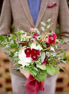 Autumn/Winter Wedding Bouquet: Red Ranunculus, White Florals, Dark Blue Privet Berries, Several Varieties Of Greenery & Foliage