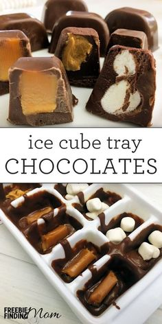 Need an easy and delicious DIY gift for the holidays? If you have about 10 minutes you can whip up this chocolate Christmas candies recipe. No fancy materials are needed, just an ice cube tray for your mold, chocolate and your favorite filings Just Desserts, Delicious Desserts, Dessert Recipes, Dinner Recipes, Sweets Recipe, Cocktail Recipes, Christmas Desserts, Christmas Treats, Christmas Parties