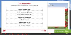 Anzac Day Ode Ordering Activity Sheet - Australian Requests, anzac day ode, ode, anzac day, anzac, ordering activity, activity sheet, orderi
