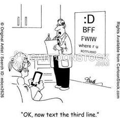 Texting an eye exam.  Sad, but it truly feels this way with some pts
