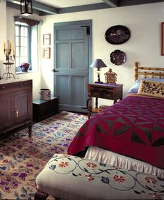 Dutch Colonial Stone House and Local Antiques In the master bedroom, American Empire furniture shares space with the current owner's crewel embroidery, Austrian ironwork, and an early Chinese oxblood flambe vase. Primitive Country Homes, Primitive Bedroom, Primitive Antiques, Primitive Decor, Colonial Bedroom, Bedroom Country, Country Decor, American Bedroom, Dutch Colonial Homes