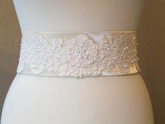 Silk Bridal Sash, Belt, Beaded, Vintage Ivory SILK and Re-Embroidered Alencon Lace, Lace-Up Closure, Swarovski Pearls.. $225.00, via Etsy.