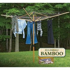 Greenway GCL9FAB Deluxe Bamboo Fold-Away Clothesline - GCL9FAB