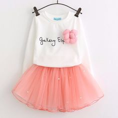 Bear Leader Lovely Girls White Tee Shirt and Pink Skirt With Rhinestone Clothes Set for Kids Girl Autmn Children Clothing Sets - Kid Shop Global - Kids & Baby Shop Online - baby & kids clothing, toys for baby & kid Kids Outfits Girls, Girl Outfits, Fashion Outfits, Dress Fashion, Girls Lace Dress, Girls Dresses, Dress Girl, Pink Dress, Rosa Rock