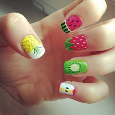 Let's create something interesting on our nails. Do you want to try your favorite fruit on your nails? Here are fruit inspired nail designs worth trying. Rainbow Nail Art Designs, Fruit Nail Designs, Creative Nail Designs, Cute Nail Designs, Creative Nails, Pretty Designs, Cute Nail Art, Cute Nails, Pretty Nails