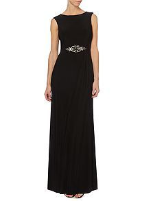 Cap sleeve boatneck gown with open back