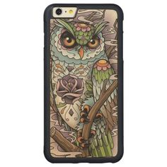 Day of the Dead Sugar Skull Owl Carved® Maple iPhone 6 Plus Bumper Case