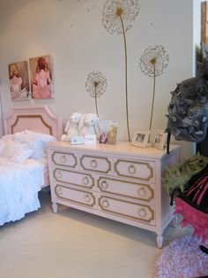 Project Nursery - pink and gold hollywood regency dresser