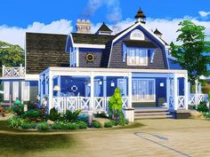 Cozy coastal house built on 30x30 lot in Brindleton Bay. Found in TSR Category 'Sims 4 Residential Lots'