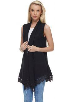 Laetitia Mem Black Fine Knit Waterfall Waistcoat With Lace Hem