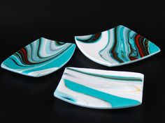 """Spectrum Fusers Reserve """"Southwest"""" glass, with peacock green opal and vanilla opal. Set of platters, fused and slumped."""