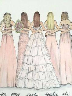 Wedding Party Illustration - Bride and her Girls - Bridesmaids - Custom Plate - Bridal Ceramics