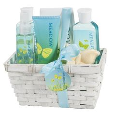 Meadow Bath Gift Set in Wicker White Basket Shower GelBubble Bath Bath SaltBody LotionBody SprayBath Fizzer *** Continue to the product at the image link.Note:It is affiliate link to Amazon. #iphonesia