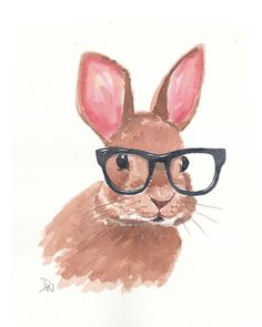 Original Rabbit Watercolor  Bunny Painting Eye by WaterInMyPaint